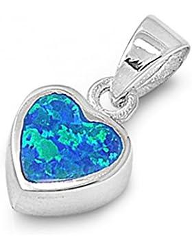 Sterlingsilber Anhänger mit Lab Opal - Herz