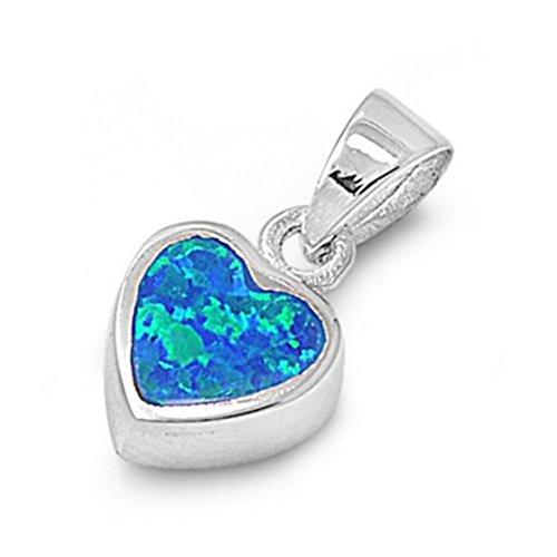Sterlingsilber Anhänger mit Lab Opal - Herz (Blau 14k Ring Männer Stein Gold Für)