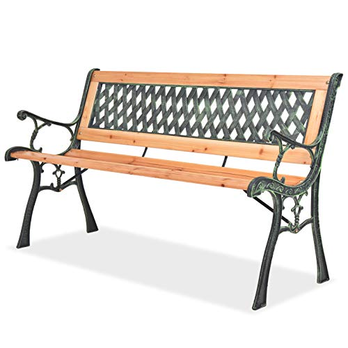Amazon.de: vidaXL Holz Gartenbank Schmiedeeisen 122cm