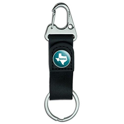 Texas TX Home State aus massivem türkis Offizielles Lizenzprodukt Gürtel Wechselrahmen Karabiner Leder Stoff Schlüsselanhänger Schlüsselanhänger (Gürtel Offizielle)