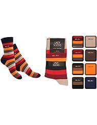 8 Paar Damen Socken, Freizeitsocken geringelt & uni, Damensocken Größen 35 - 42