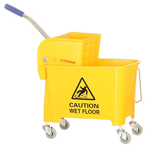 PUFFIN Mini Mop Bucket Wringer Trolley(20 Liter, Yellow, Pack of 1)