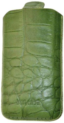 Suncase Original Echt Ledertasche mit Rückzugfunktion für Apple iPhone 3G/3GS croco-grün Iphone 3g Leder-etui