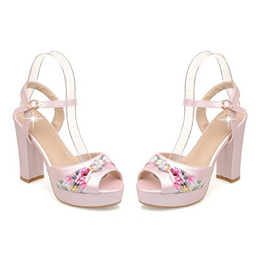 AllhqFashion Damen Schnalle Fischkopf Schuhe Hoher Absatz Pu Leder Sandalen Mit Hohem Absatz Pink