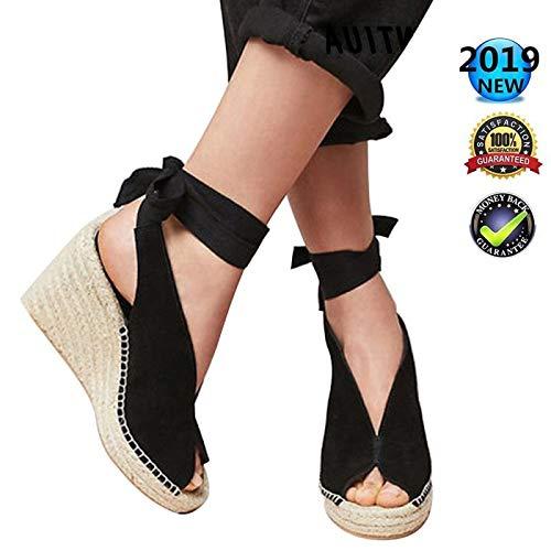 Plataformas Mujer Tacón Alto Cuña Alpargatas Sandalias Verano Cuero Punta Abierta Zapatos Romanas...