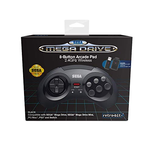 Retro-Bit Sega MD 8-B 2.4G Wl Black - Not Machine Specific