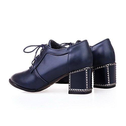 AllhqFashion Femme Lacet à Talon Correct Pu Cuir Couleur Unie Pointu Chaussures Légeres Bleu
