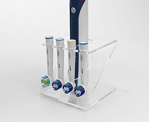 Ständer für elektrische Zahnbürste für 4x Bürstenköpfe (in verschiedenen Farben erhältlich) farblos