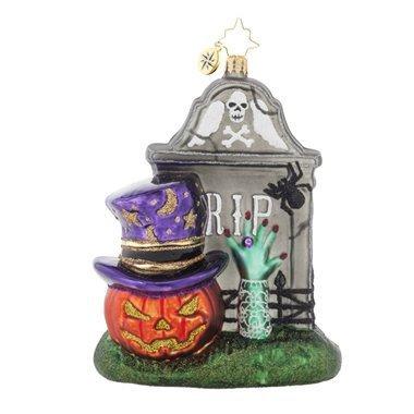 RADKO FRIGHTENING ENCOUNTER Tombstone Glass Ornament Halloween by Christopher Radko