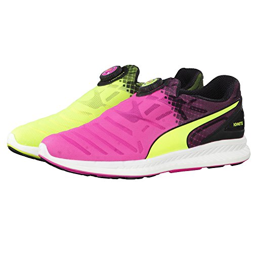 Puma Ignite Disc Tricks, Chaussures de Running Compétition Mixte Adulte, Safety Yellow/Pink Glo/Black Multicolor (Safety Yellow/Pink Glo/Black)