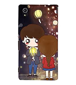 99Sublimation Boy and Girl with Lamp 3D Hard Polycarbonate Back Case Cover for Sony Xperia M4 Aqua, Sony Xperia M4 Aqua Dual