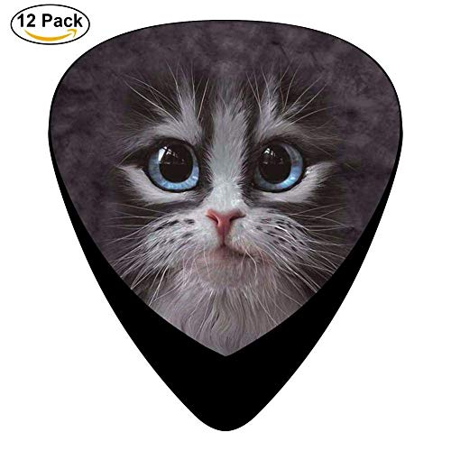 Cutie Pie Kitten Face Celluloid Guitar Picks 12 Pack For Electric Acoustic Guitar Womens Cutie Pie