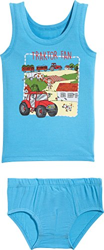 Kinderbutt Unterwäsche-Set 2-tlg. mit Druckmotiv türkis Größe - Traktor Unterwäsche Jungen