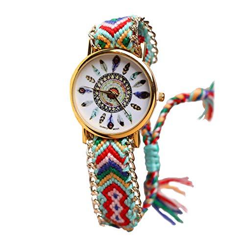 Hippie-chic Band (Bracelets Armbänder 1S72 BR.1176 - brasilianische Armbanduhr, Mehrfarbig - Motiv Hippie Bohème Chic - Goldkette - verstellbar - Boho Chic Stil)