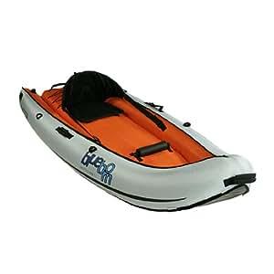 Blueborn Coasteer 240x88 cm Sit-On-Top Boot für 1 Person mit Nylonhülle Kanu Kajak Schlauchboot Boot Ruderboot mit 115kg Tragkraft