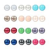 Cupimatch 12 Paare Ohrstecker Ohrringe Ohrhänger imitation Perlen Kugel Form Ohrschmuck Set Creolen 6mm für Damen Herren in 12 verschiedenen Farben