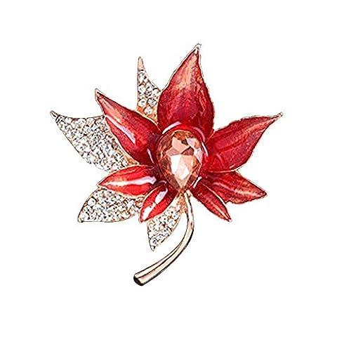 Uniqueen Vintage Maple Leaf Brooch Swarovski element Crystal Girls Brooches Pins Sale