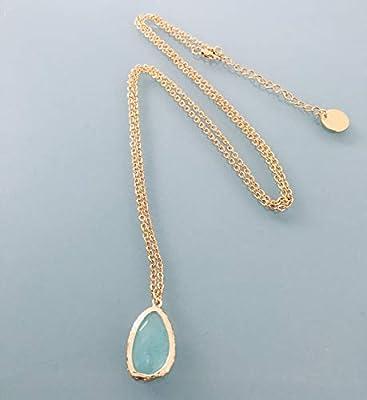 Sautoir Chrysoprase en acier inoxydable, bijoux, collier chrysoprase, bijou chrysoprase, bijou pierre naturelle, collier porte bonheur, bijoux cadeaux