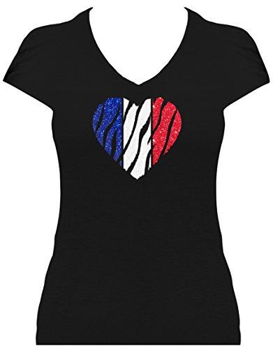 Elegantes Damen WM Shirt Frankreich Fussball Glitzeraufdruck Herz France 2018, T-Shirt, Grösse XXL, Schwarz