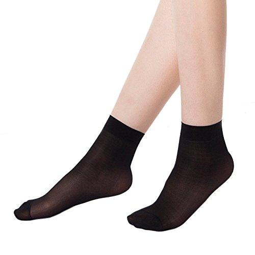 CHIC-CHIC Lot de 10 paires de socquettes avec bord confort fibres ultraminces cristal transparent chaussettes courtes élastiques (Noir)