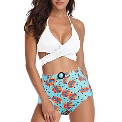 Asalinao Damen Push Up Riemen drücken Bikini Badeanzug Beachwear mit hoher Taille aus Reiner Farbe -