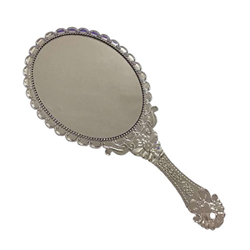 Ladies Vintage REPOUSSE Floral Hand Held Oval espejo maquillaje tocador
