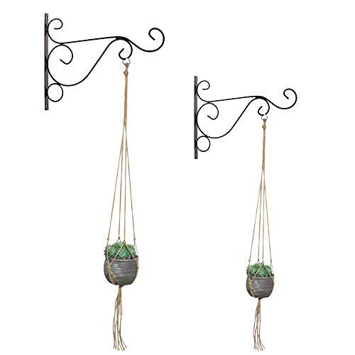 2 Stück schwarz hängende Pflanze Klammern und Makramee Kleiderbügel Indoor Outdoor hängenden Korb Inneneinrichtungen für Pflanzer Laternen Windspiele Wandhalterungen(Topfpflanzen sind nicht enthalten)