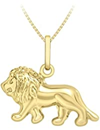 """Carissima Gold 9ct Yellow Gold Lion King Pendant on Box Chain Necklace of 46cm/18"""""""