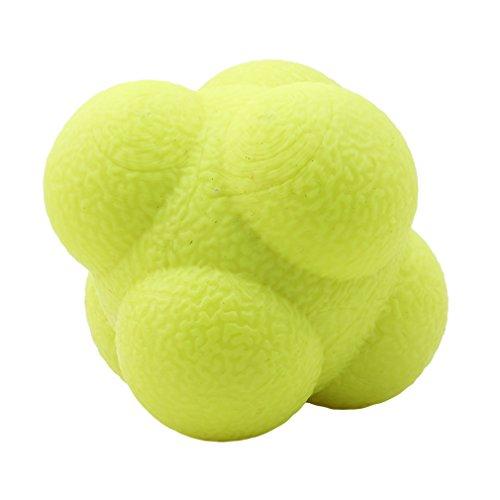 SEVENHOPE Outdoor Fun Sechseck Ball Spielzeug Fitness Sechseck Reaktionsball Gummi Trainingsbälle (Gelb) (Baseball Training-tools)