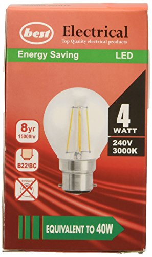 �W Bajonettsockel G45LED Filament Glühbirne, Entspricht 40W–Warm Weiß, Glas, B22d, 4Watt (Led-bulk)