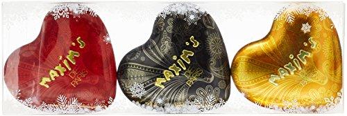 Maxim's de Paris Décor Noel Etui de 3 Mini Coeurs Coffret de chocolat 150 g