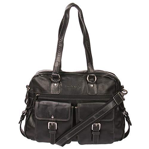 Kossberg Leder Shopper Handtasche Schultertasche Henkeltasche Modell Galwe (Schwarz)