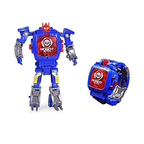 Esoar Spielzeug-Armbanduhr Transformers Toys Kids 2-in-1 Elektronische Transformers Spielzeug Uhr verformt Roboter manuelle Transformation Roboter Spielzeug Kinder Geschenk 3-6 Jahre (blau)