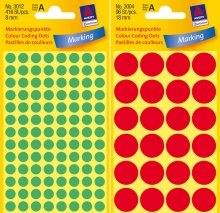 Avery 3007 Círculo Amarillo 96pieza(s) - Etiqueta autoadhesiva (Amarillo, Círculo, Papel, 1,8 cm, 96 pieza(s), 24 pieza(s))