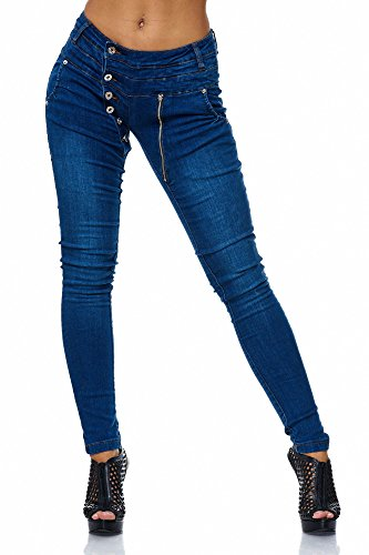 BELLIS Damen Jeans Jeanshose with Buttons an Zip/ FS-20310 Light Herstellergröße: (32/33) XL