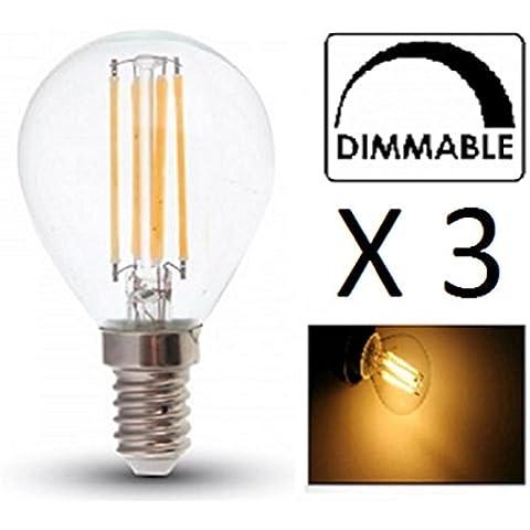 Acabado Vidrio de LED de Filamento P45bombillas–Regulable–Pack de 3–E14/Ses–4W–Blanco cálido