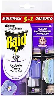 Raid Antitarme Gel per Armadi, Confezione da 6 Pezzi al Profumo di Lavanda, Protegge per l'Intera Stag