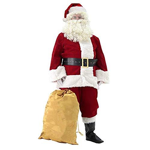 JF Herren Deluxe Santa Suit 10pc. Weihnachtssamt Erwachsene Weihnachtsmann Kostüm Party Cosplay