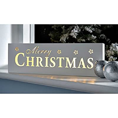 WeRChristmas Pre-Lit LED Merry Christmas Sign Decoration, Wood, 38 cm - White