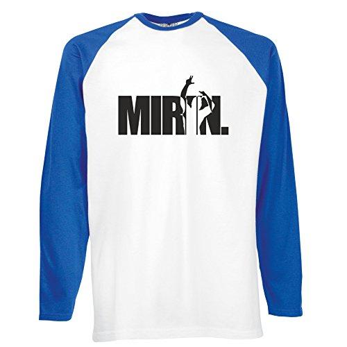 Brand88 - Mirin Zyzz, Zyzz inspired, Langarm Baseball T-Shirt Weiss & Blau