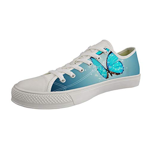 Nopersonality Low-top Sneakers Women Ladies Girls Canvas Lace Up Flat Gym Trainers Tennis Baseball Casual Sports Pumps Blau Butterfly Size 37