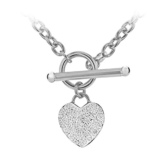 Carissima Gold 9 ct White Gold 0.10 ct Diamond Heart Oval Belcher T-Bar Chain of 43 cm/17 inch