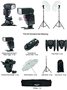 Sonia Camera Flash Speedlight VT631RF Kit with Combo Pack of 2 Camera Flash with Built in Radio Trigger; 2 Umbrella Sungun/Flash Adapter; 2 White Umbrella and 1 Kit Bag for All DSLR Cameras