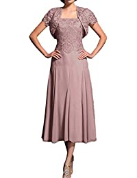Promgirl House Damen Elegant A-Linie Spitze Brautmutter Abendkleider  Ballkleider Wadenlang mit Bolero 764aa4c9ea