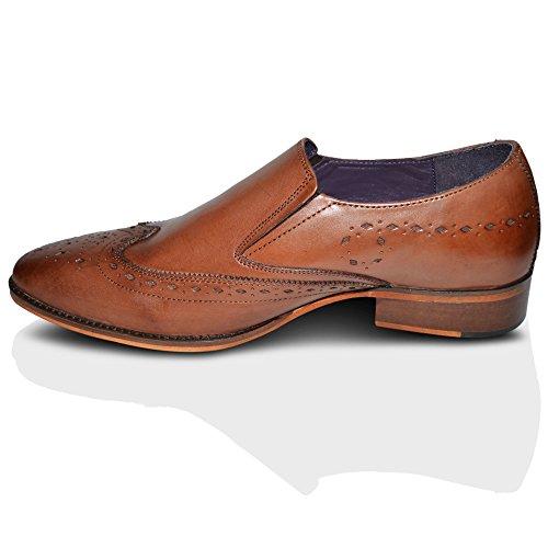 Gucinari Mens 100% Leder Formelle Halbschuhe Business Slip On Schuhe Hellbraun