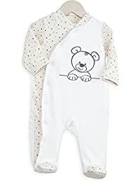 Kinousses Grenouillère Pyjama pour Bébé Nino le Petit Ourson Blanc