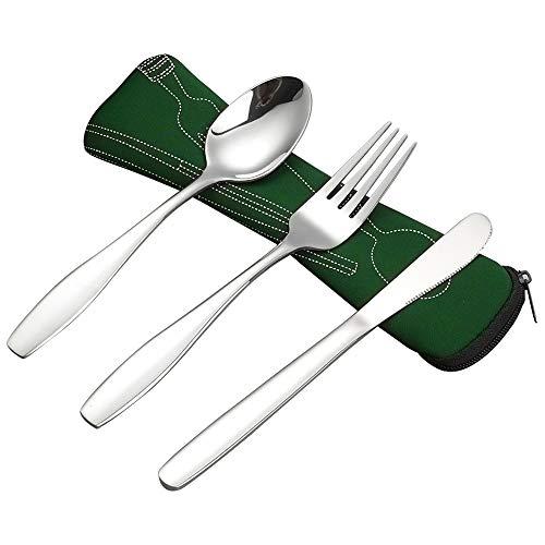 Ggbin Besteck-Set mit Messern, Gabel, Löffel, Lunchbesteck, mit schwarzem Beutel, 3-teilig Iii-beutel