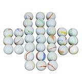 NEEZ Glass Marbles Décoratif pour Enfants Vases Solitaire Puzzles Tableau de Arcade Conseil Jeux Assortis (Paquet de 40 Billes - Laiteux)