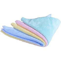 CaLeQi Pack de 4 mixed Colour-Soft Bambú Toallas de Cara, Suave Bebé Recién Nacido Toalla de Cara, 30 x 30 cm (30x30cm)