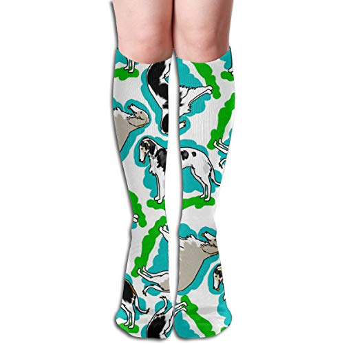 Women's Fancy Design Stocking Style Borzoi Dogs Multi Colorful Patterned Knee High Socks 19.6Inchs